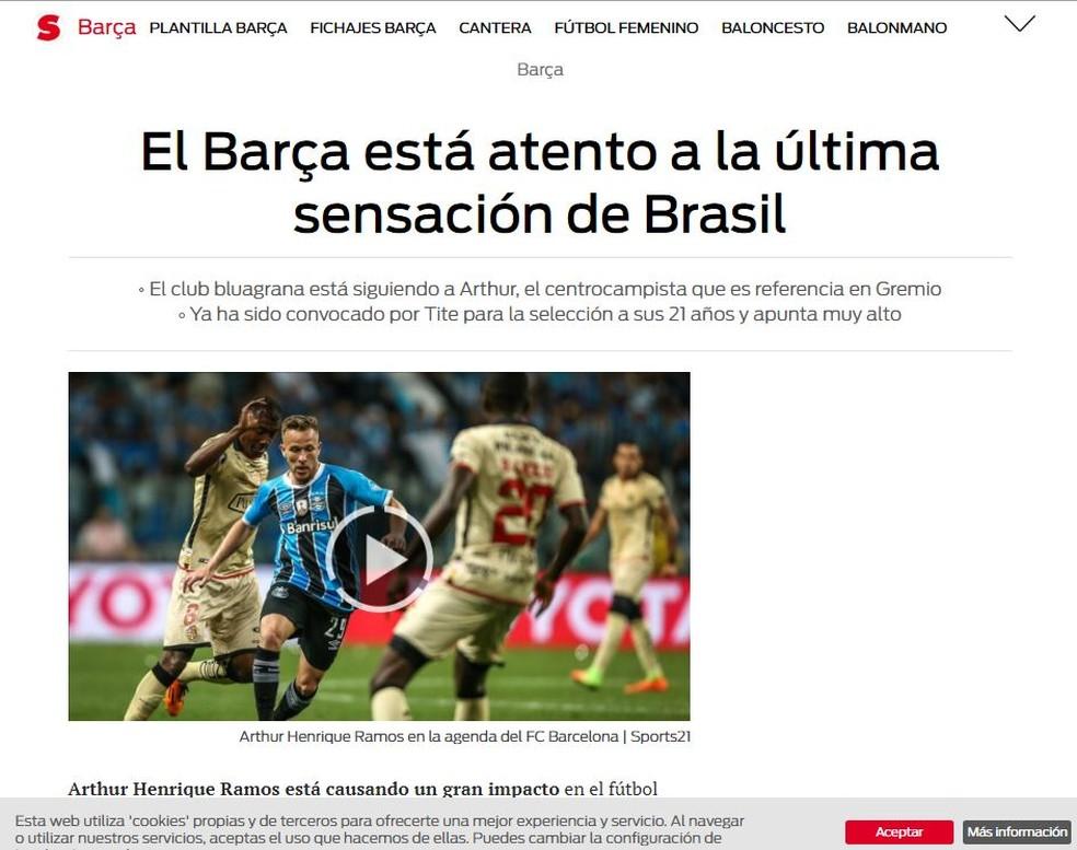 Jornal espanhol coloca Arthur na mira do Barcelona (Foto: Reprodução )