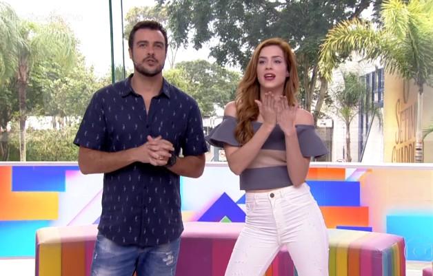 Joaquim Lopes e Sophia Abrahão no 'Video show' (Foto: Reprodução)