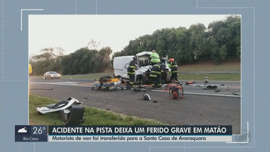 Motorista de van fica gravemente ferido após colisão com caminhão na Rodovia SP-310 em Matão
