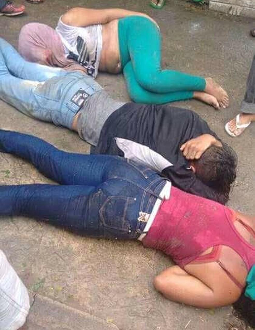 Um homem e duas mulheres foram espancados pela população (Foto: Reprodução/Inter TV Cabugi)