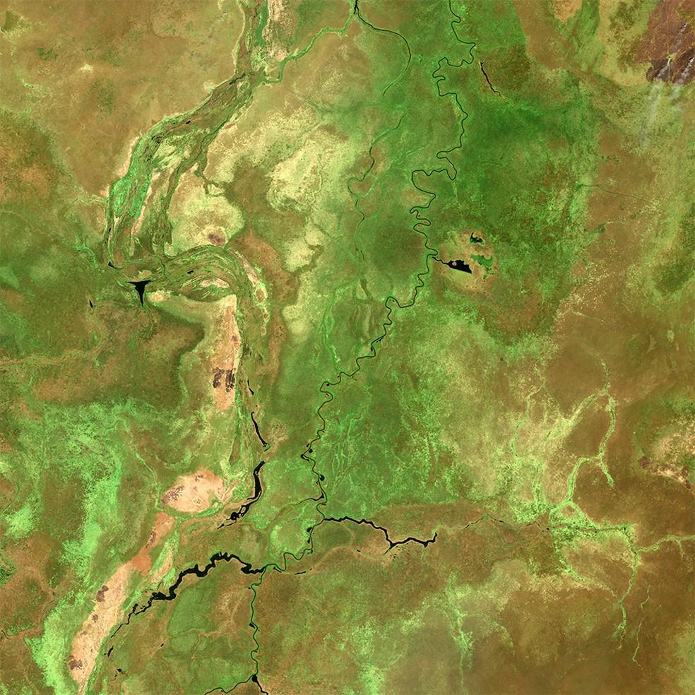 Região de Sudd: os micróbios em solos saturados produzem metano — Foto: Copernicus Data 2019/ESA/Sentinel-2