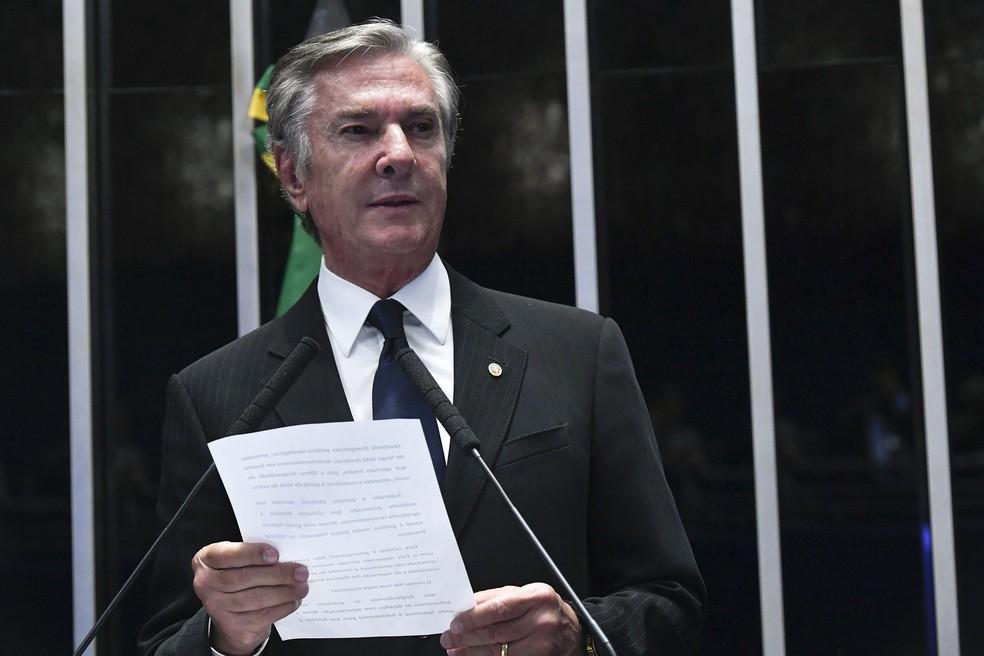 O senador Fernando Collor (Pros-AL) durante discurso no plenário do Senado — Foto:  Geraldo Magela/Agência Senado