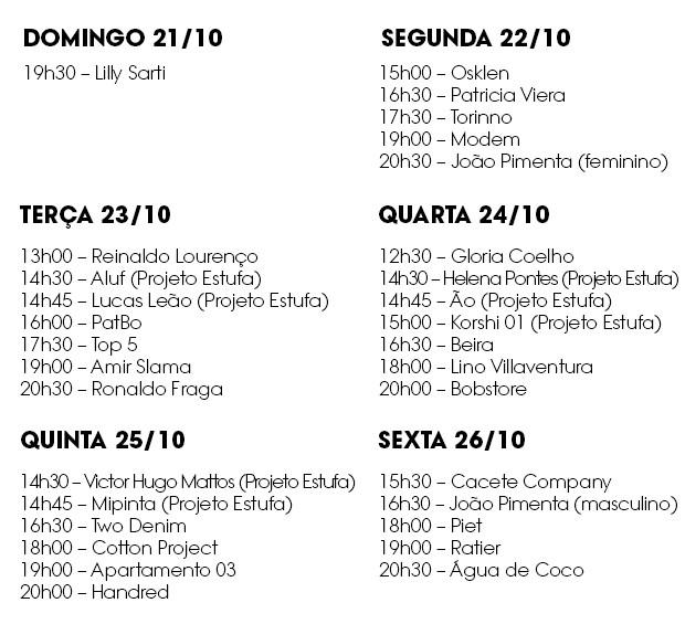Lineup SPFW (Foto: Divulgação )