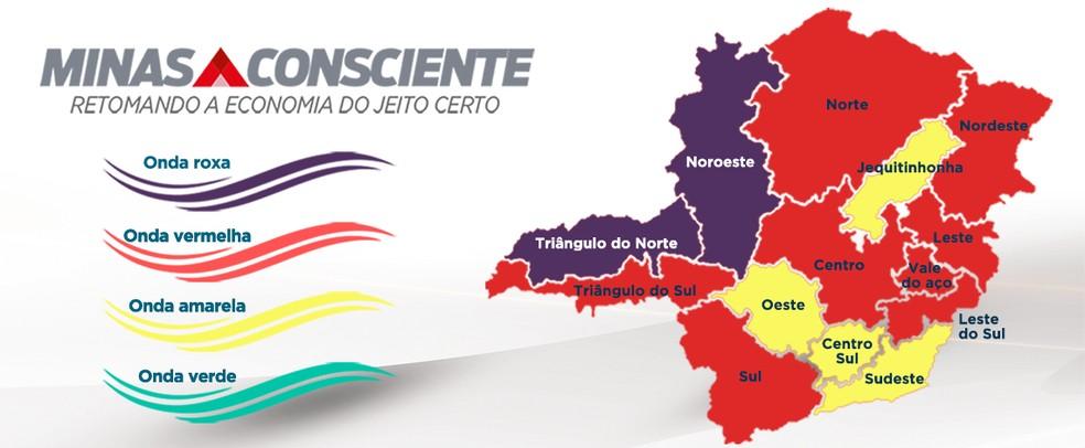 Nova composição das regiões de Minas Gerais com a criação da onda roxa do Minas Consciente  — Foto: Divulgação/Governo de Minas Gerais