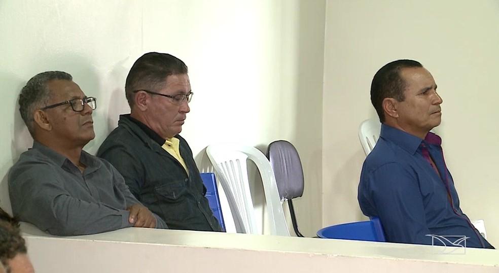 José Evangelista, Raimundo Salgado e Benedito Serrão foram condenados a mais de 34 anos de prisão pela morte do prefeito Bertin — Foto: Reprodução/TV Mirante