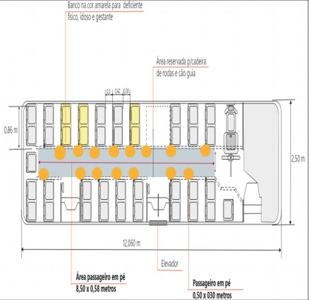 Mapa das demarcações consta na nota técnica da STTU — Foto: Divulgação