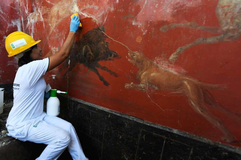 Javali e outros animais em afresco (Foto:  Ciro Fusco/Pompeii - Parco Archeologico)