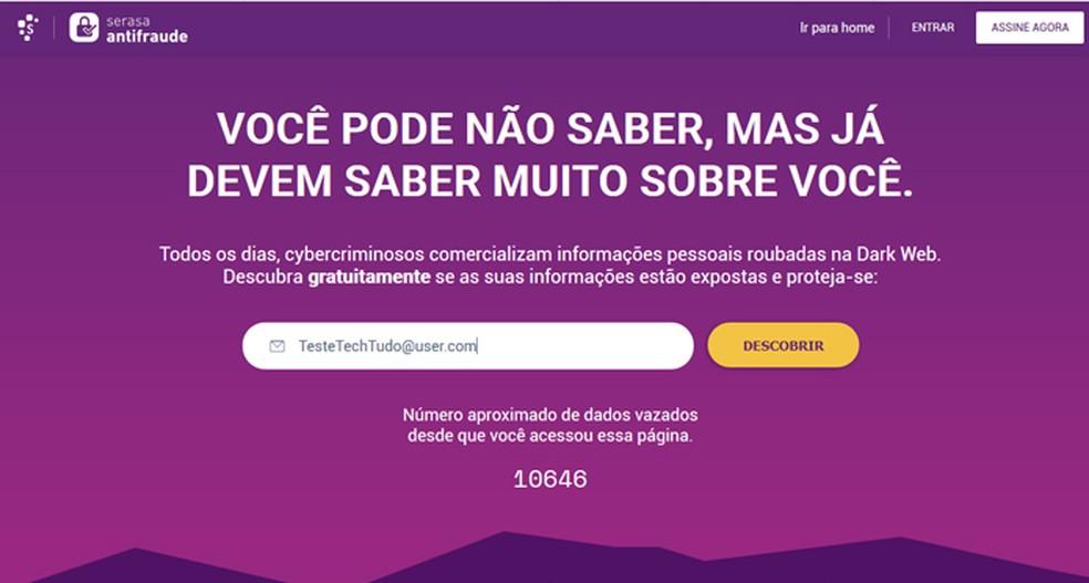 Serasa Antifraude conta com um sistema de monitoramento de e-mail na dark web — Foto: Reprodução/Giulia Araújo
