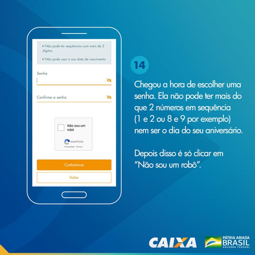 Tela 14 para pedir abertura da poupança social digital — Foto: Divulgação Caixa