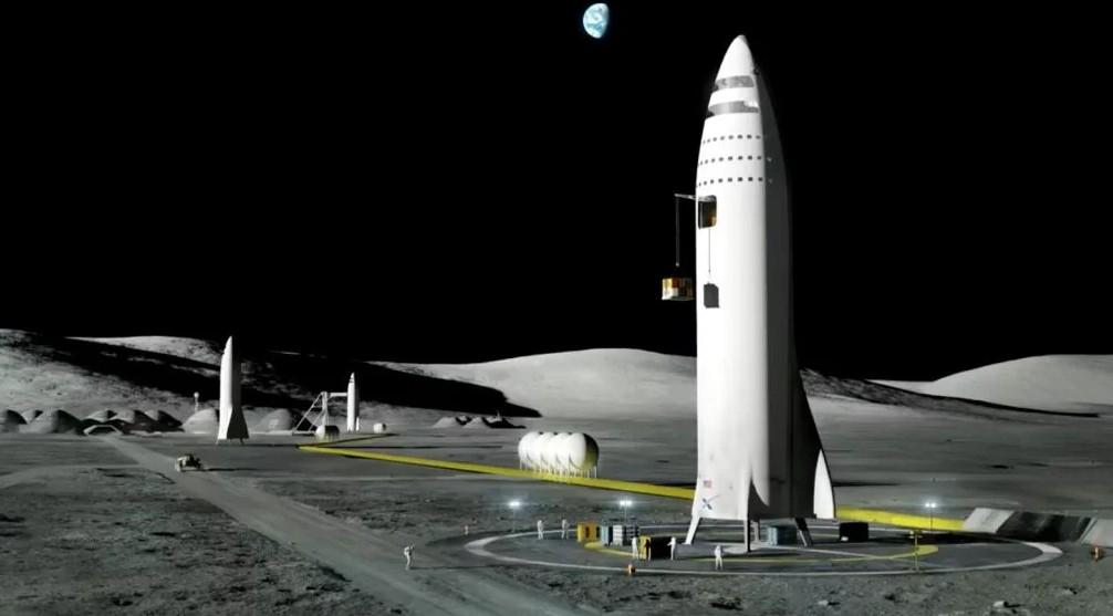 Ilustração do BFR em solo lunar (Foto: Divulgação/SpaceX)
