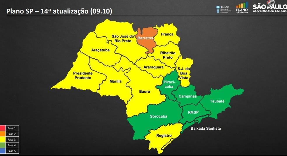 Região de Campinas foi reclassificada para a fase verde do Plano São Paulo — Foto: Reprodução