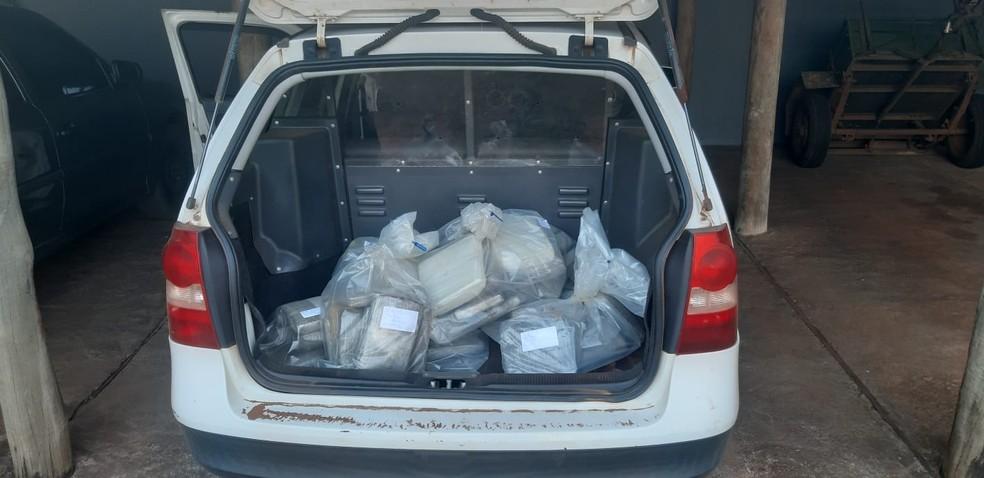 Drogas foram apreendidas e levadas à delegacia de Manduri — Foto: Polícia Civil/Divulgação