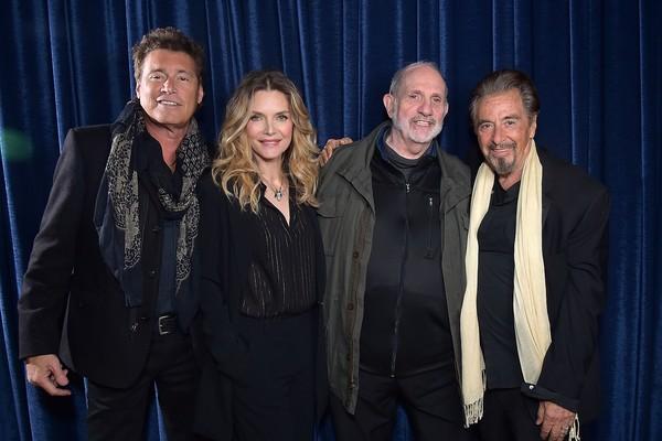 Michelle Pfeiffe, Al Pacino, Steven Bauer e Brian De Palma no evento celebrando os 35 anos Scarface (1983) (Foto: Getty Images)