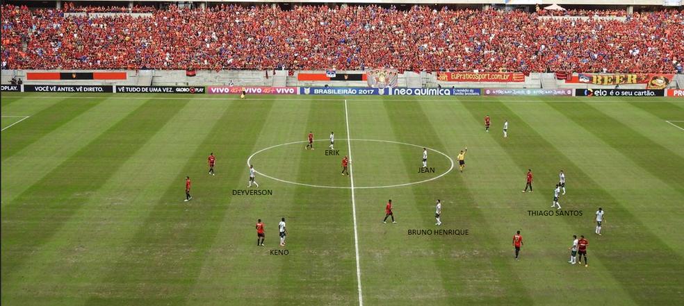 Thiago Santos ficou mais próximo da defesa, dando espaço para Jean e Bruno Henrique ajudarem o ataque (Foto: Tossiro Neto)