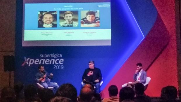 Peter Thomas, da , Horácio Poblete, da TrustVox, e João Selarim, da TotalVoice. (Foto: Redação)