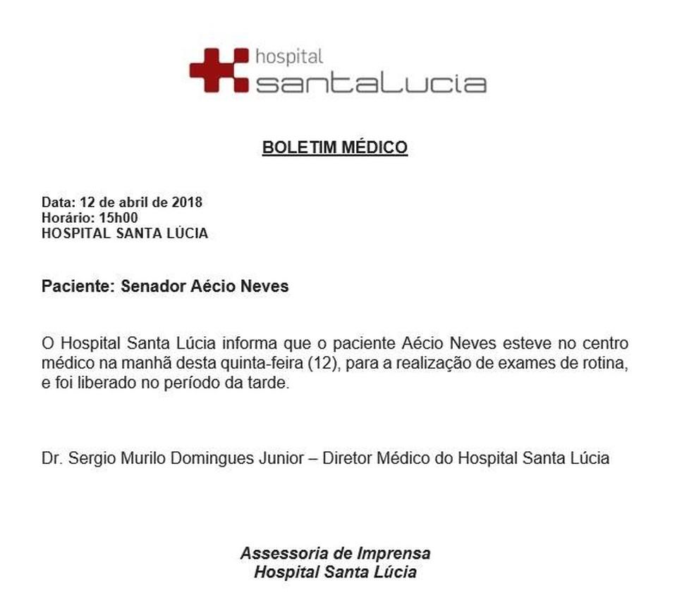 Boletim médico divulgado pelo Hospital Santa Lúcia sobre o senador Aécio Neves (PSDB-MG) (Foto: Divulgação)