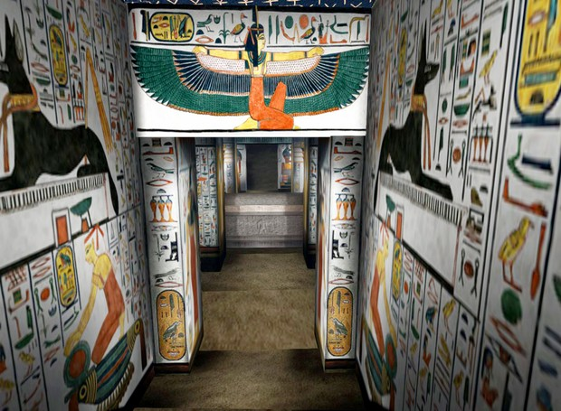 O local é inteiro decorado pela arte egípcia (Foto: Youtube/ Reprodução)