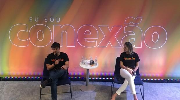 Pedro Prates e Renata Zanuto durante evento no Cubo Itaú. (Foto: Giovanna Maradei)