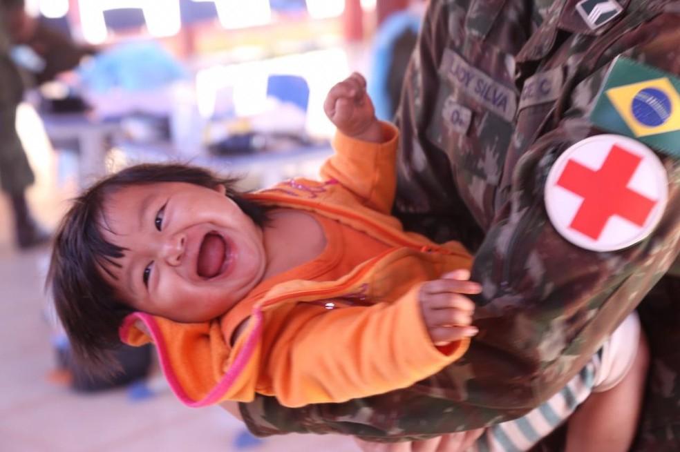 Operação Xavante atende mais de 1,5 mil indígenas em MT e distribui 11 mil medicamentos — Foto: Divulgação/Ministério da Defesa