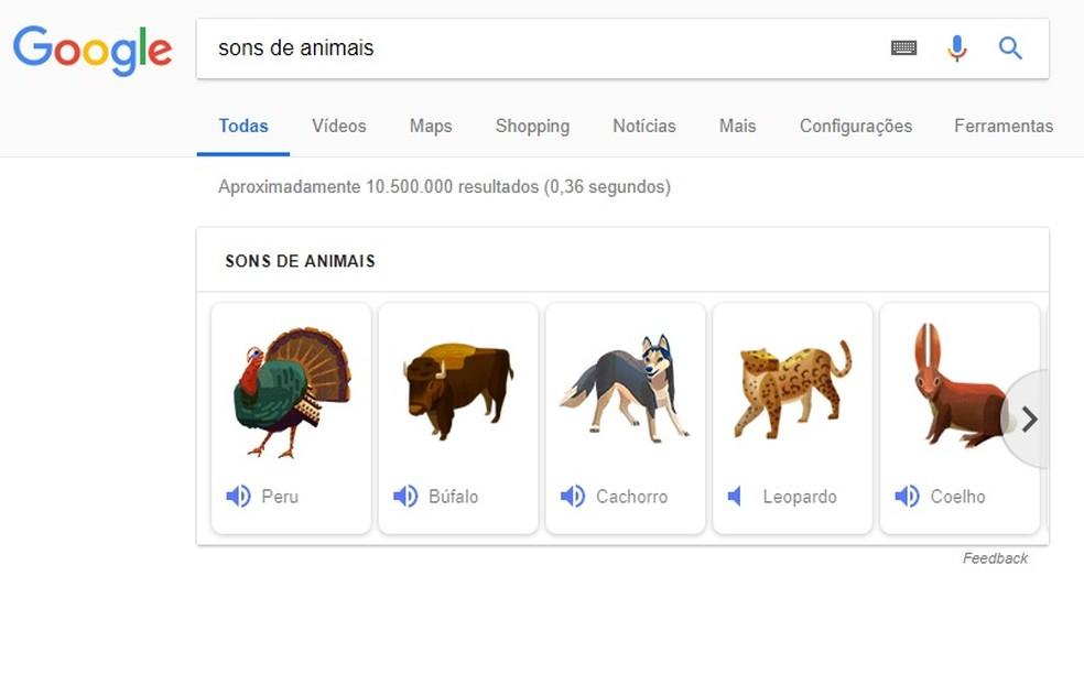 Google reproduz sons de animais direto nos resultados de busca (Foto: Reprodução/Rodrigo Fernandes)