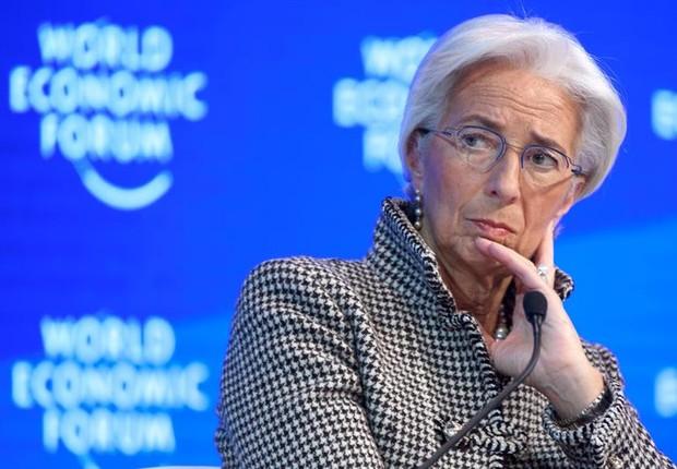 Christine Lagarde, presidente do Fundo Monetário Internacional (FMI), durante o Fórum Econômico Mundial (Foto: LAURENT GILLIERON/EFE)