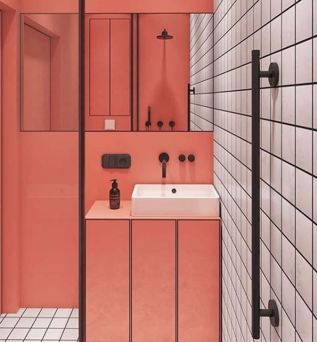 Banheiro inspiração coral compartilhado pelo Instagram Apartamento 33 (Foto: Instagram/ Reprodução)