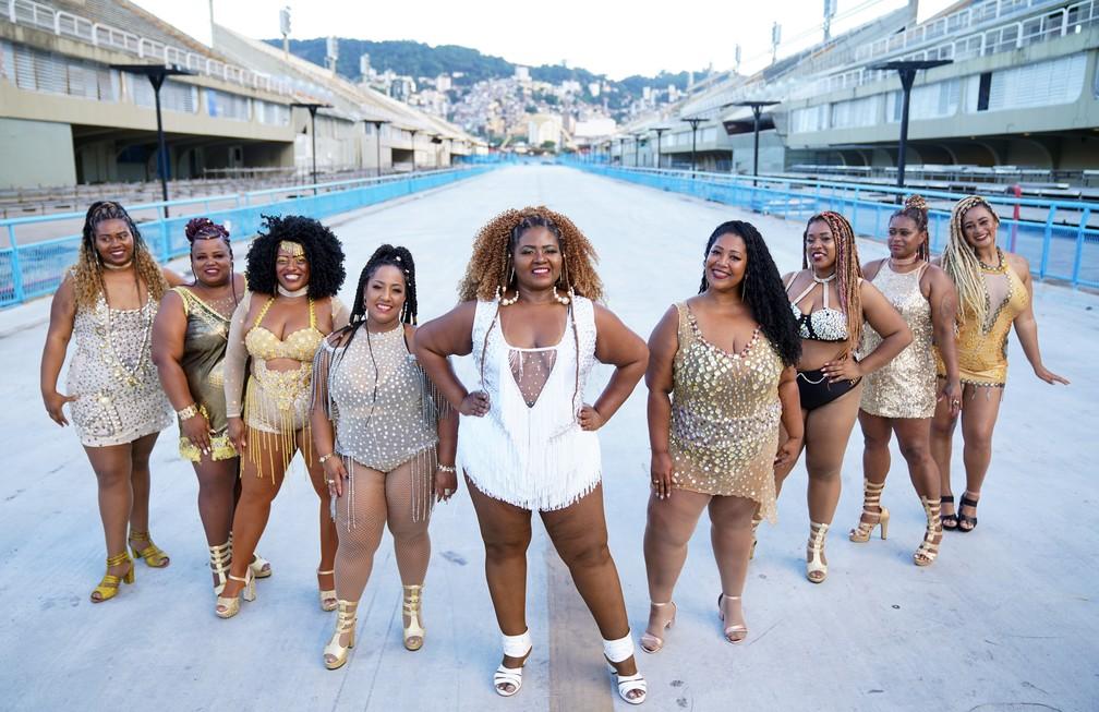 O projeto Plus no Samba RJ promove inclusão dos mais variados padrões de beleza no carnaval — Foto: Marcos Serra Lima/G1