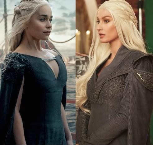 Emilia Clarke e Gisele: as duas como Daenerys Targaryen, da série de sucesso (Foto: Divulgação)