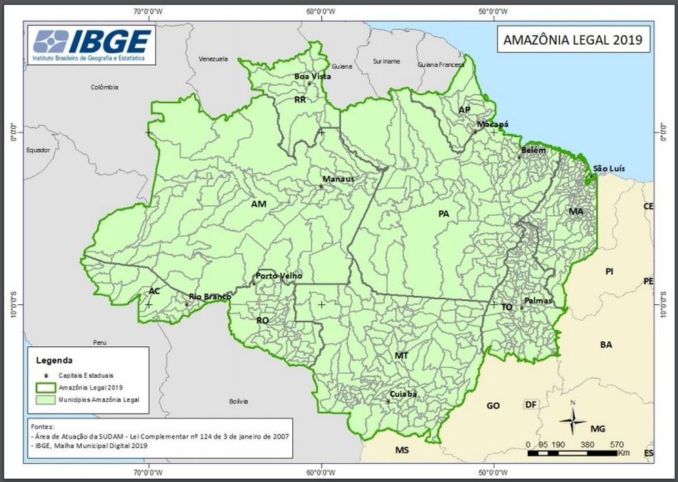 Território do Acre na Amazônia Legal soma mais de 164 mil quilômetros quadrados, aponta IBGE  — Foto: Divulgação/IBGE