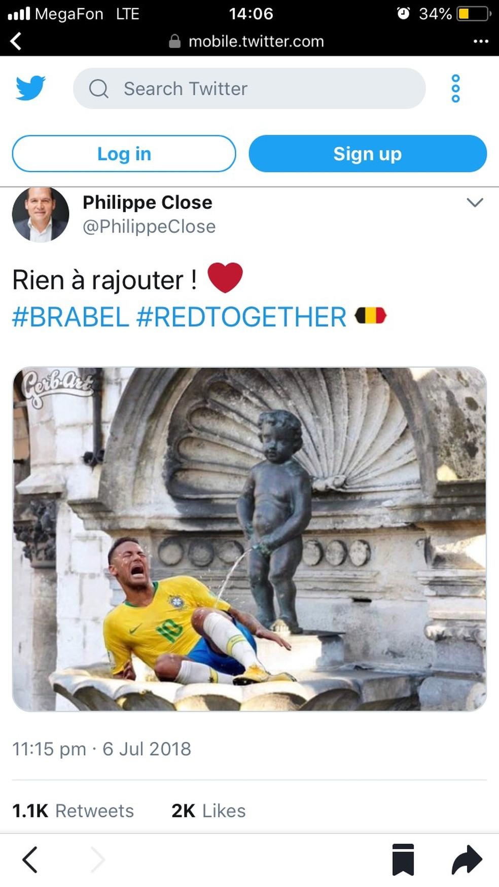 Piada após jogo rendeu críticas a prefeito da capital belga (Foto: Reprodução Twitter)