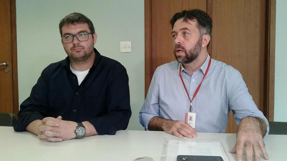 -  O superintendente da GRS Oleg e o subsecretário de Sapude Rodrigo Said atualizaram os casos da doença na região.  Foto: Fellype Alberto/G1