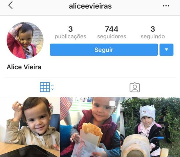 Perfil de Alice, neta de Gracyanne Barbosa (Foto: Reprodução/Instagram)