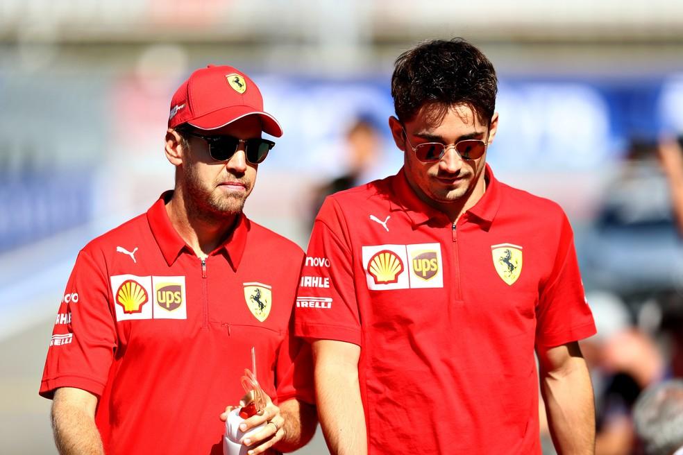 Vettel e Leclerc continuam como parceiros na Ferrari ano que vem? — Foto: Getty Images