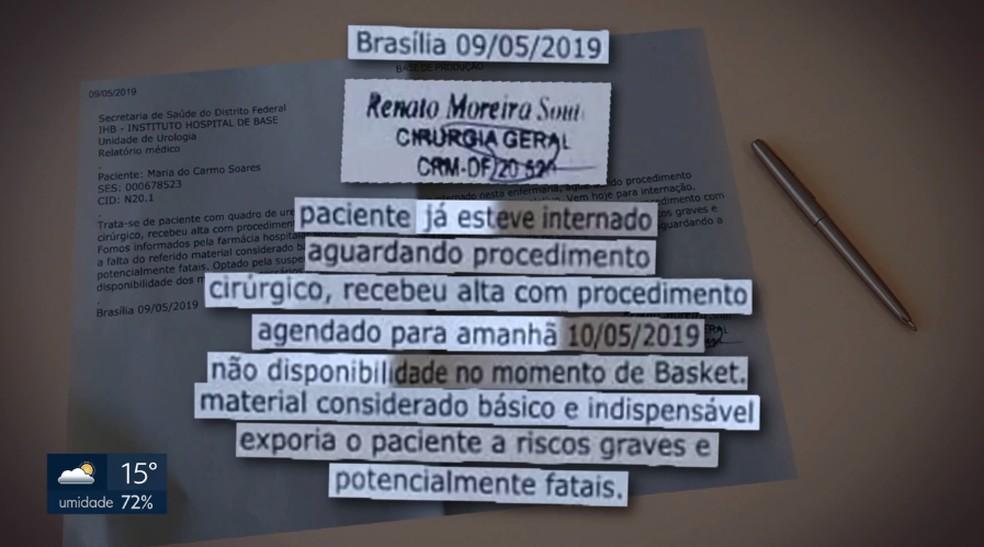 Relatório de cirurgião sobre alta de paciente — Foto: TV Globo