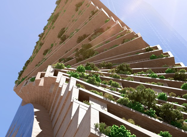 A construção ondular permite que cada andar possua uma vista diferente (Foto: UNStudio e Cox Architecture/ Reprodução)