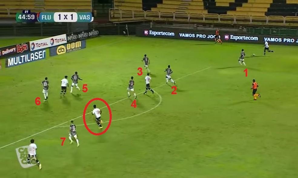 Mesmo em vantagem numérica, Calegari ficou sozinho contra dois — Foto: Reprodução / PPV do Carioca