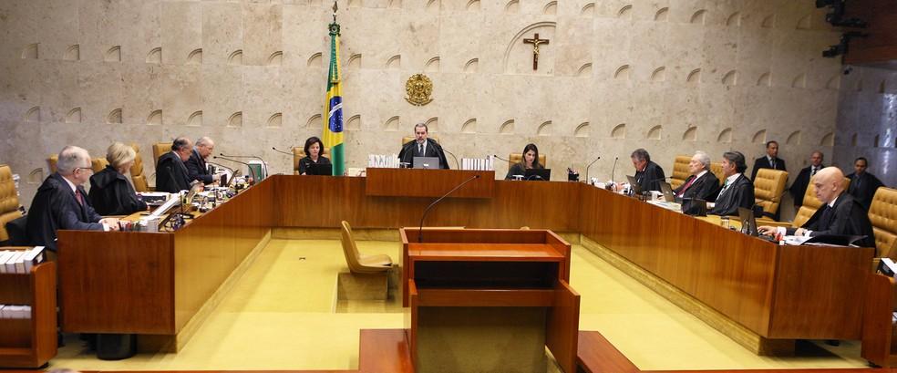 Os ministros do Supremo Tribunal Federal reunidos em plenário — Foto: Nelson Jr./STF