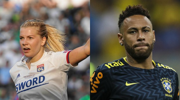 Ada Hegerberg, craque norueguesa, e Neymar, terceiro jogador mais bem pago do mundo (Foto: Getty Images)