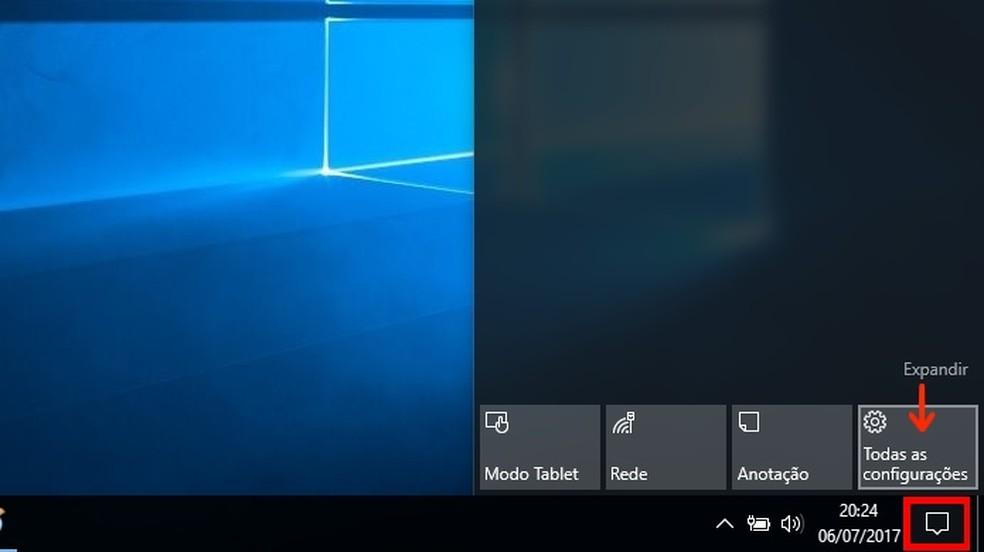 Acesso às configurações do Windows 10 (Foto: Reprodução/Raquel Freire)