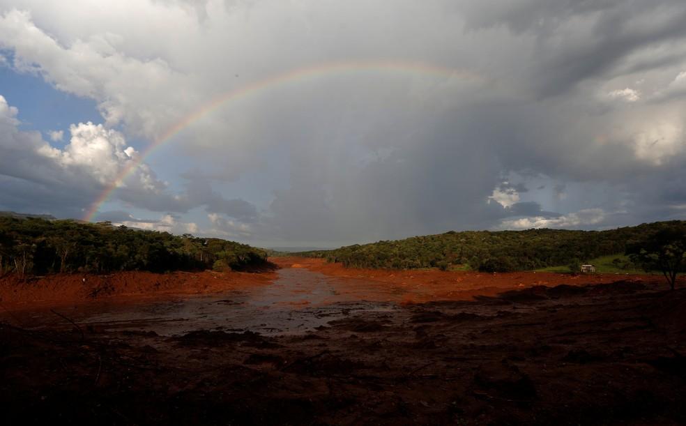 Área onde ficava Pousada Nova Estância, em Brumadinho (MG), foi destruída pela lama de rejeitos — Foto: Adriano Machado/Reuters