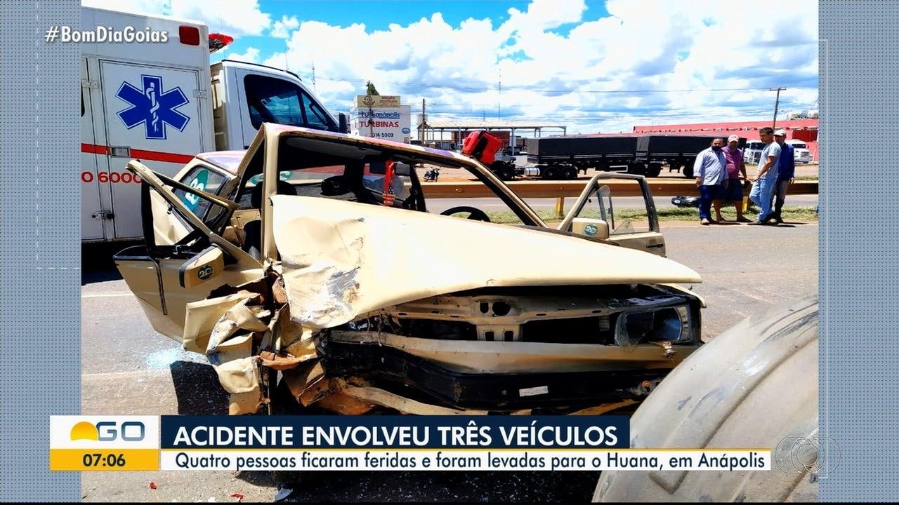 Quatro pessoas ficam feridas em acidente em Anápolis
