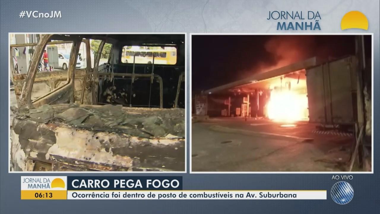 Carro pega fogo dentro de posto de combustíveis na Avenida Suburbana, em Salvador