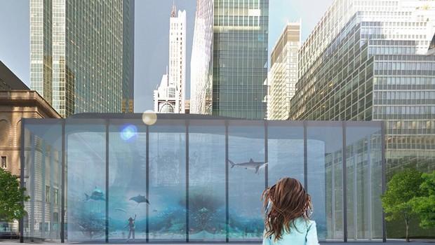 Eric Spencer quer colocar um aquário na Park Avenue, avenida em Manhattan, Nova York (Foto: Divulgação/The Fisher Brothers/Beyond The Park Avenue Centerline Contest)