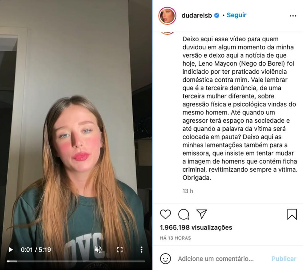 Publicação da atriz Duda Reis nas redes sociais fala sobre indiciamento de Nego do Borel — Foto: Reprodução/redes sociais