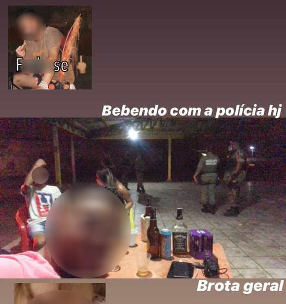 Nas redes sociais, jovem fez piada sobre abordagem policial em bar que desrespeitou isolamento social — Foto: Reprodução