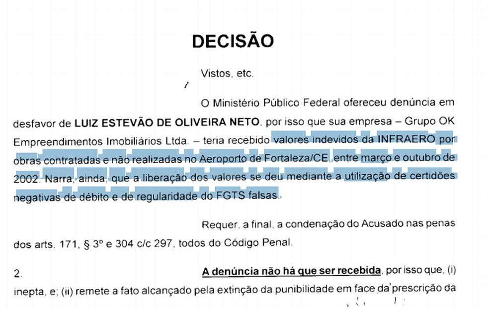 Decisão do juiz da 12ª Vara Federal sobre acusações contra o ex-senador Luiz Estevão, em 2013 (Foto: Marília Marques)