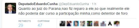 Eduardo Cunha questiona no Twitter atuação do juiz federal Sérgio Moro durante investigações da Operação Lava Jato (Foto: Reprodução/Twitter)