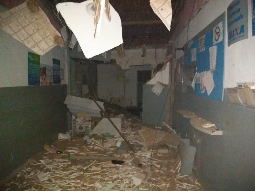 Casa Lotéria ficou destruída após ataque de criminosos com explosivos, na madrugada deste domingo (26) em Pedra Grande, RN — Foto: Redes sociais