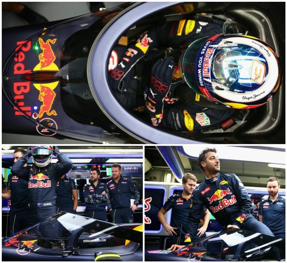 Daniel Ricciardo testa aeroscreen da RBR (Foto: Divulgação)