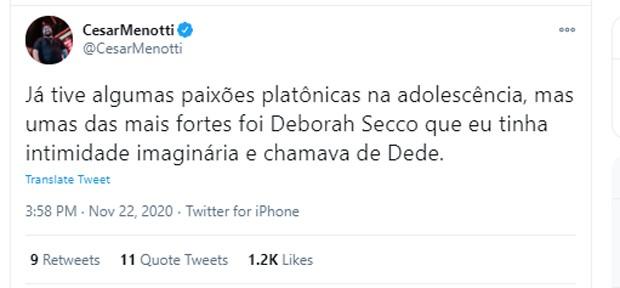 Publicação de César Menotti (Foto: Reprodução/Twitter)